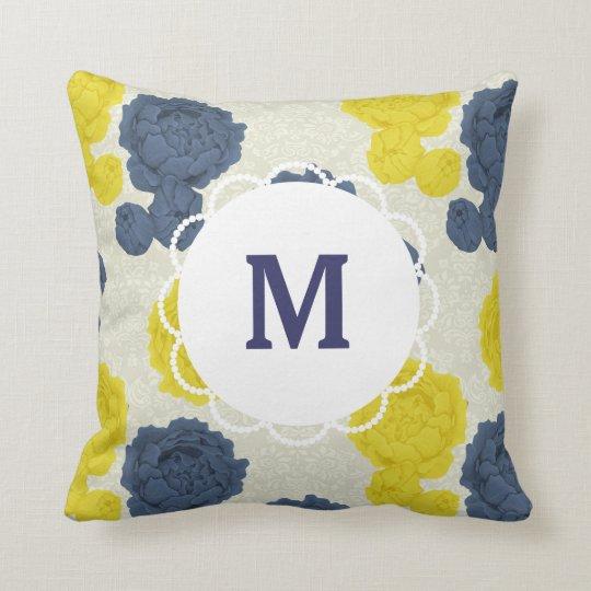 Custom Monogram Vintage Floral Cushion