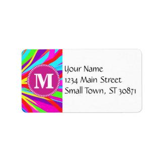 Custom Monogram Vivid Color Paint Brush Strokes Address Label