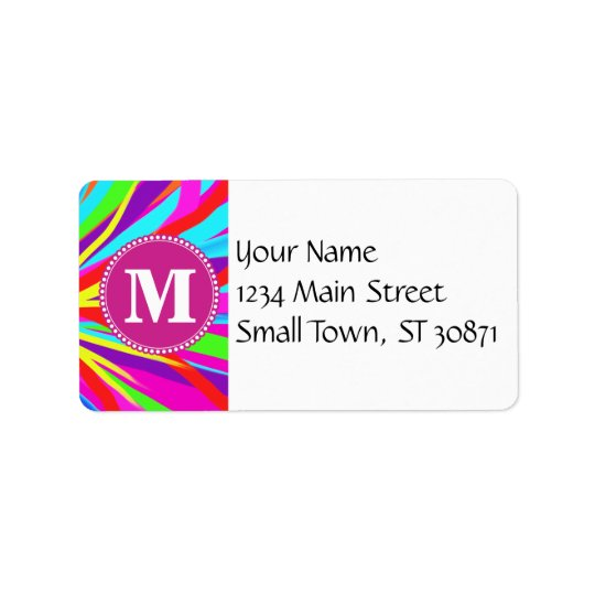 Custom Monogram Vivid Colour Paint Brush Strokes Label