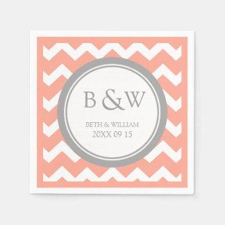 Custom Monogram Wedding Napkin Coral Grey Chevron Paper Napkins