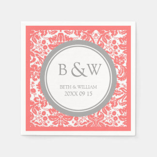 Custom Monogram Wedding Napkin Coral Grey Damask Paper Napkin
