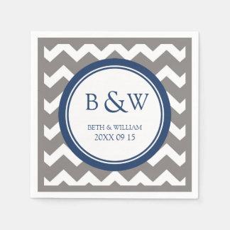 Custom Monogram Wedding Napkin Grey Blue Chevron Disposable Napkins