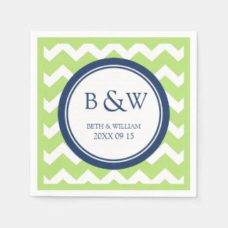 Custom Monogram Wedding Napkin Lime Blue Chevron Disposable Serviette
