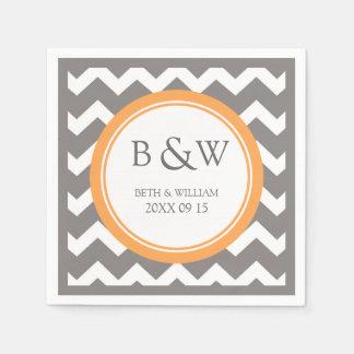 Custom Monogram Wedding Napkin Orange Grey Chevron Disposable Napkins
