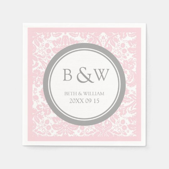 Custom Monogram Wedding Napkin Pink Grey Damask Paper
