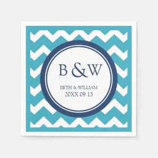 Custom Monogram Wedding Napkin Teal Blue Chevron Disposable Serviette