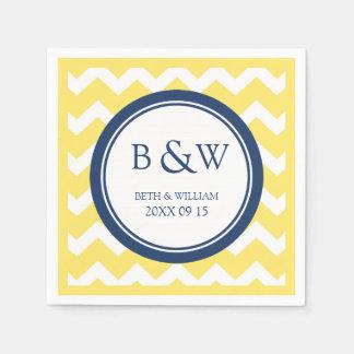 Custom Monogram Wedding Napkin Yellow Blue Chevron Paper Napkin
