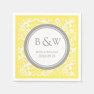 Custom Monogram Wedding Napkin Yellow Grey Damask Disposable Serviette