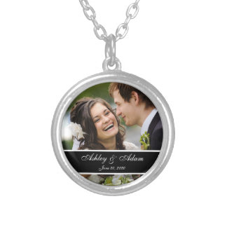Custom Monogram Wedding Photo Keepsake Pendants