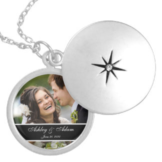 Custom Monogram Wedding Photo Keepsake Round Locket Necklace