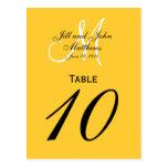 Custom Monogram Wedding Table Number Yellow