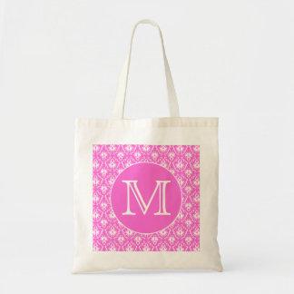 Custom Monogram. White and Pink Damask Pattern.