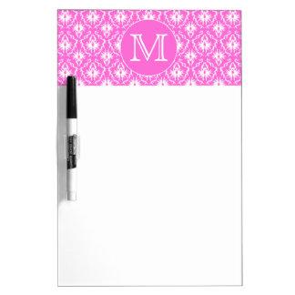Custom Monogram. White and Pink Damask Pattern. Dry Erase Board