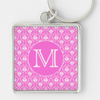 Custom Monogram. White and Pink Damask Pattern. Key Ring