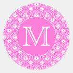 Custom Monogram. White and Pink Damask Pattern. Round Sticker