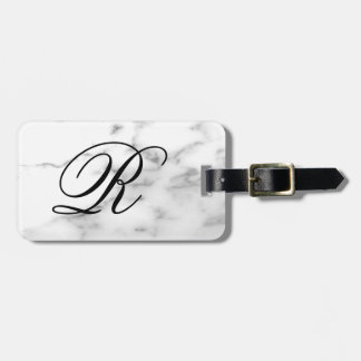 Custom monogram white marble stone elegant travel luggage tag
