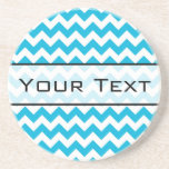 Custom Monogram with Blue Chevron Background Drink Coaster
