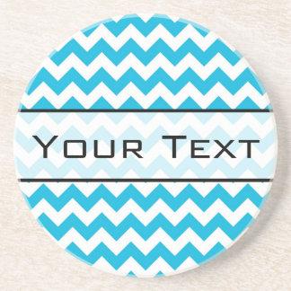 Custom Monogram with Blue Chevron Background Coaster