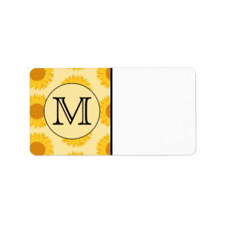 Custom Monogram, with Yellow Sunflowers. Address Label