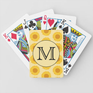 Custom Monogram, with Yellow Sunflowers. Bicycle Playing Cards