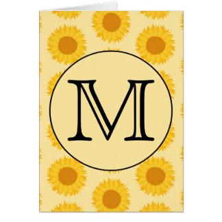 Custom Monogram with Yellow Sunflowers Greeting Card
