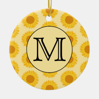 Custom Monogram, with Yellow Sunflowers. Christmas Ornament