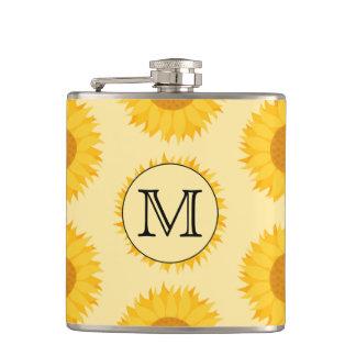 Custom Monogram, with Yellow Sunflowers. Hip Flask