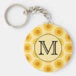 Custom Monogram, with Yellow Sunflowers. Basic Round Button Key Ring