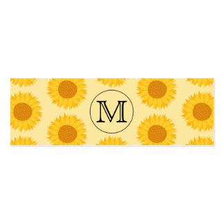 Custom Monogram, with Yellow Sunflowers. Pack Of Skinny Business Cards