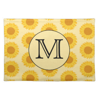 Custom Monogram, with Yellow Sunflowers. Placemat