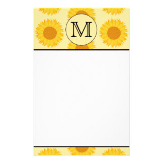 Custom Monogram, with Yellow Sunflowers. Stationery