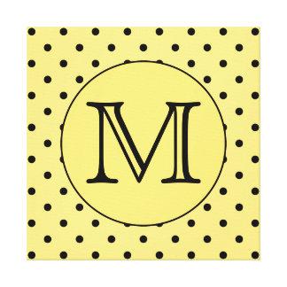 Custom Monogram Yellow and Black Polka Dot Pattern Canvas Print