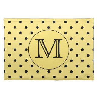 Custom Monogram Yellow and Black Polka Dot Pattern Placemat