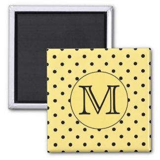 Custom Monogram Yellow and Black Polka Dot Pattern Square Magnet