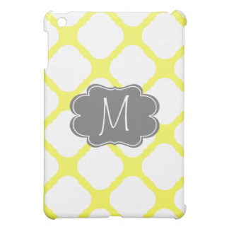 Custom Monogram Yellow and White Art Deco Pattern iPad Mini Cover