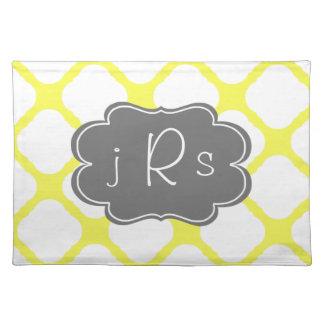 Custom Monogram Yellow and White Art Deco Pattern Placemat