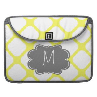Custom Monogram Yellow and White Art Deco Pattern Sleeve For MacBook Pro