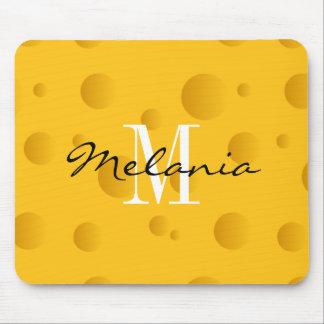 Custom monogram yellow swiss cheese mouse pad