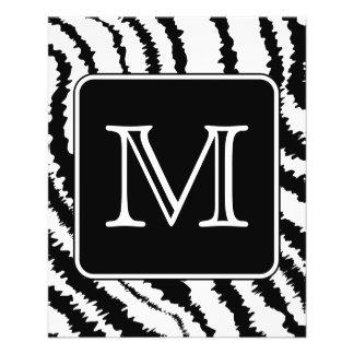 Custom Monogram, Zebra Pattern Animal Print. 11.5 Cm X 14 Cm Flyer