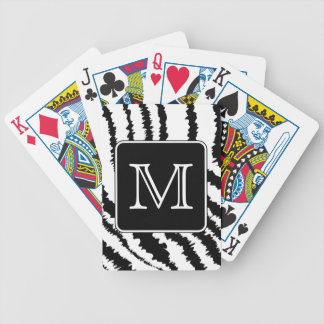 Custom Monogram, Zebra Pattern Animal Print. Bicycle Playing Cards