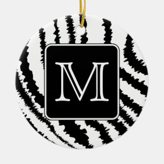 Custom Monogram, Zebra Pattern Animal Print. Christmas Ornament