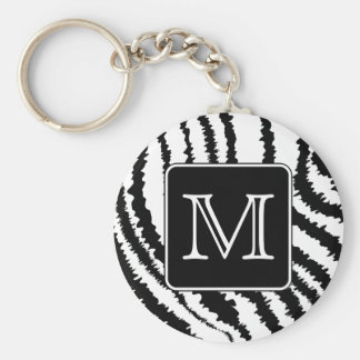 Custom Monogram, Zebra Pattern Animal Print. Key Ring