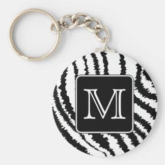 Custom Monogram, Zebra Pattern Animal Print. Key Ring