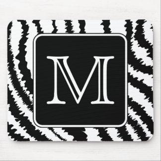 Custom Monogram, Zebra Pattern Animal Print. Mouse Mat