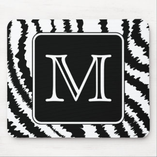 Custom Monogram, Zebra Pattern Animal Print. Mouse Pad
