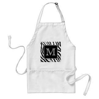 Custom Monogram, Zebra Pattern Animal Print. Standard Apron