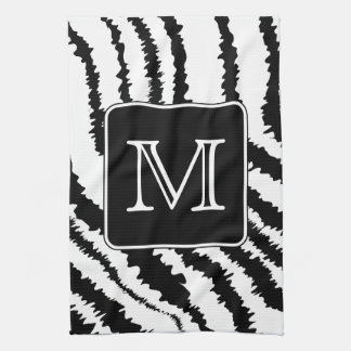 Custom Monogram, Zebra Pattern Animal Print. Tea Towel
