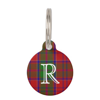 Custom Monogramed Grant Plaid Dog Tag Pet ID Tag