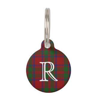 Custom Monogramed MacIntosh Plaid Dog Tag Pet Name Tag