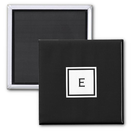 Custom Monogrammed Black and White Magnet